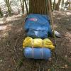 The yellow stuff sack contains the whole Alpha with all needed set-up and tensioning gear.