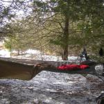 FB-2 readied as bivy sack.  Note the shoeshoes hanging from a tree behind.  Had to pack in over snow-drifted fields to get to this little cedar refuge!